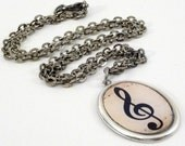 Treble Clef Necklace Music in Antique silver oval frame