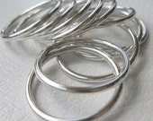 Sterling Silver Stacking Rings Round Thick Wire Work in Shiny or Matte Finish