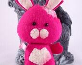 Pocket sized ZomBunny Ornament - Fuchsia zombie bunny mini plush