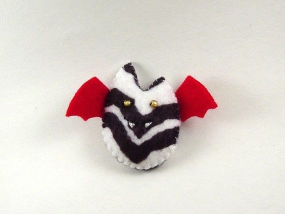 Batling Ornament - Black White Zebra and Red