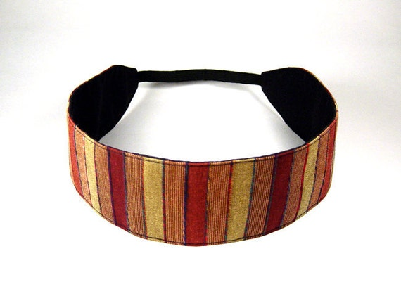 Reversible Headband - Rusted Gold - Rust Muted Gold Brick Stripes and Solid Black