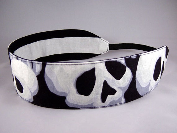 Reversible Headband - Death Race - Black White Grey Lg Skulls and Black White Stripe