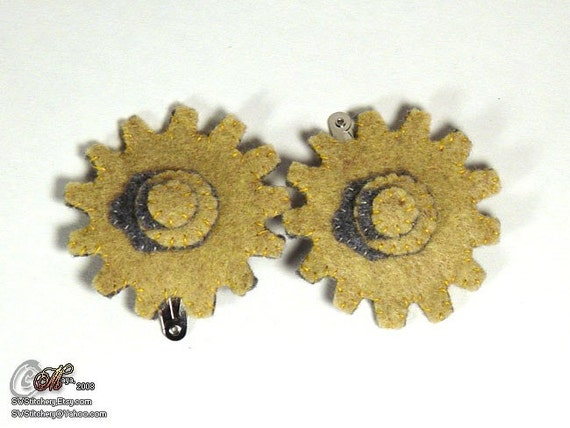 3D Gears Hair Clips - PAIR - Putty, Charcoal OOAK