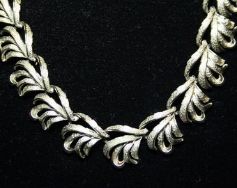 Vintage Coro Silver Leaf Necklace - 1950s to 1960s