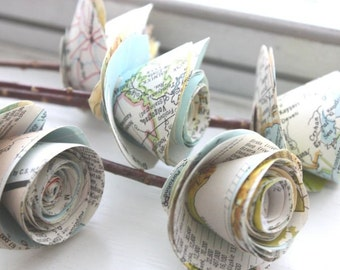 paper roses. repurposed atlas.  small.  set of 5