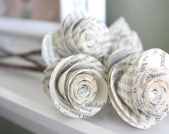 paper roses. repurposed book. small. set of 5