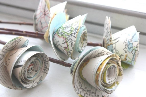 rolled paper roses. repurposed atlas.  recylced maps. small. set of 5