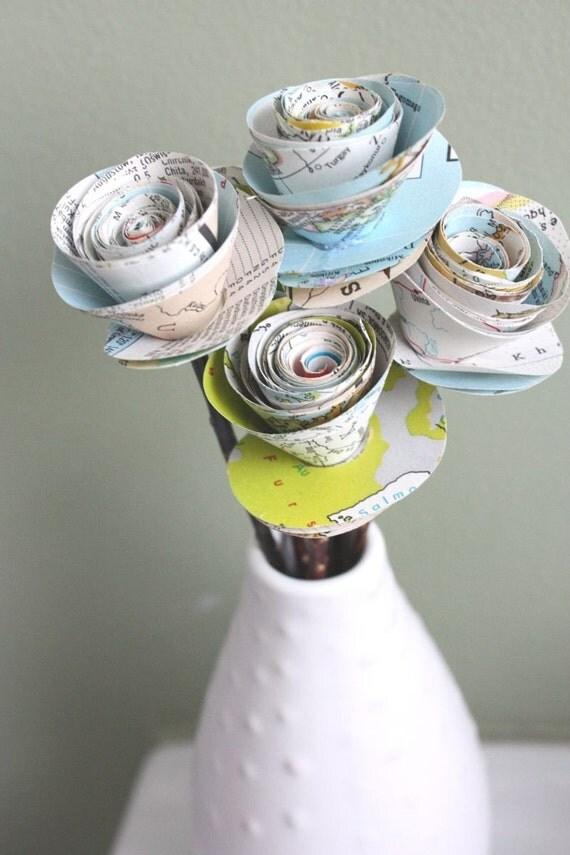paper roses. repurposed atlas.  small. set of 5