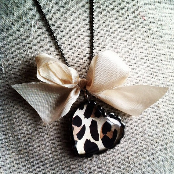 Leopard Heart soldered pendant