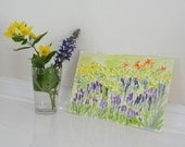 Yellow Purple Flowers Garden Botanical Original Small Watercolor Landscape Painting