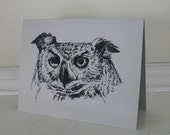 Owls Great Horned Screech Black Ink Gray Neutral All Occasion Blank Cards Set of 6