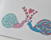 Valentine's Day Card, Snail Valentine or Anniversary Card