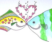 Romantic Wedding Anniversary Card, Kissing Fish Greeting Card, I love you, Happy Anniversary, Best Wishes