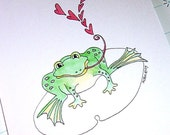 Valentine Card Silly Cute Frog Valentine Hoppy Valentine's Day Card