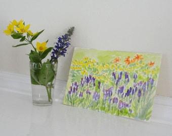 Yellow Purple Flowers Garden Botanical Original Small Watercolor Landscape Painting