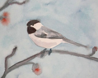 Bird Art, Bird Watercolor, Painting of Black-capped Chickadee, Small Art, Chickadee Painting, Chickadee Watercolor, Bird Illustration