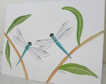 Watercolor Painting Dragonfly Art Teal Blue Green Dragonflies Watercolor Original Painting