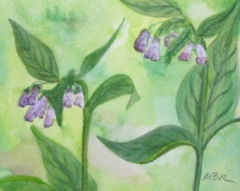 Watercolor Painting, Botanical Art, Purple Lavendar Flowers, Green Purple Herbs, Original Painting, Home Decor, Mother's Day