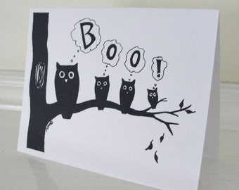 Halloween Card Halloween Owls Card Black and White Silhouette Halloween Boo halloween Greeting Card