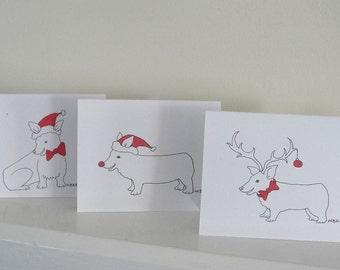 Corgi Christmas Holiday Card Set, Welsh Pembroke Corgi Christmas Holiday Cards, Set of 6