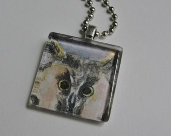 Owl Necklace Glass Pendant Owl Art Pendant Jewelry from Original Art Painting