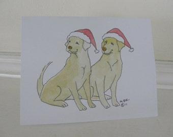 Yellow Lab Christmas Card Set,  Yellow Lab Holiday Card Set, Labrador Retriever Holiday Christmas Cards Set of 6