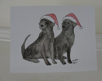 Christmas Cards Dog Christmas Card, Black Labs Labrador Retriever Single Christmas Holiday Card