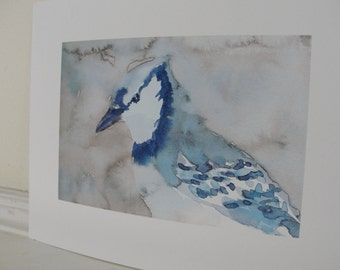 Watercolor Blue Jay Print, Bird Art Print, Nature Art Print, Home Decor, Wall Decor, 5 x &