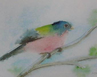 Bird Art Print Watercolor Bird Print Painted Bunting Pretty Pink and Blue Songbird Print Nature Art Print Home Decor