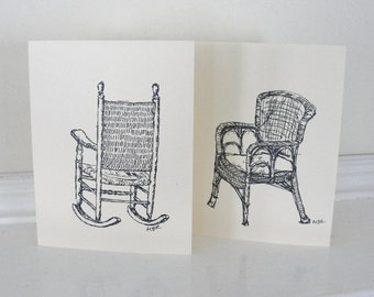 Wicker Porch Chairs Summer Fun Blank Cards Black and White Furniture Illustrations Creamy Buff All Occasion Cards Set of 4