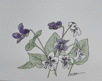 Watercolor Ink Spring Flower Painting, Mother's Day Violets, Flower Art, Botanical Painting, Violets Purple Flowers Bow, Original Watercolor