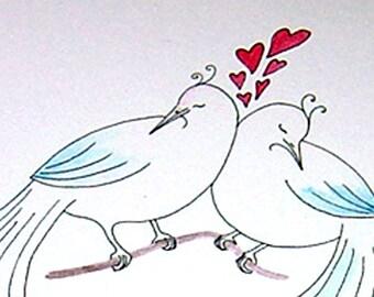Valentine Card Love Birds Valentines Day Card Happy Valeintine's Day