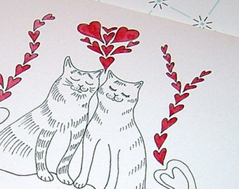 Anniversary Card, Cat Anniversary Card, Cat Wedding Card, Cat Greeting Card, Cat Happy Birthday Card, Cat Love Card