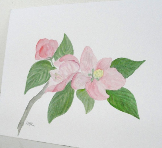 Watercolor Painting Pink Flower Painting Flower Art, Pink Apple Flower Blossoms, Original Watercolor Botanical Painting