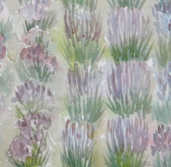 Rows of Lavender Flowers Landscape Watercolor Original Small Painting