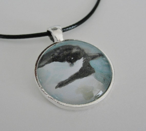 Bird Art Glass Silver Pendant Necklace Chickadee Pendant Necklace on Black Cord Bird Jewelry