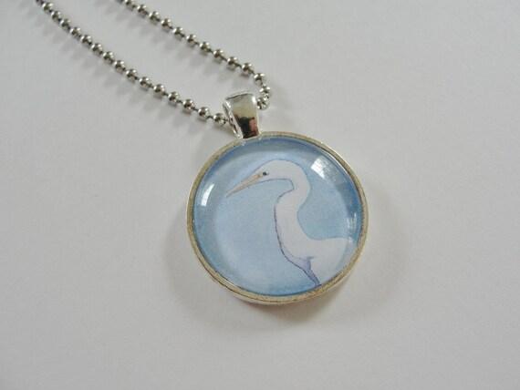 Bird Necklace, Heron Bird Art Jewelry Sale, Blue and White Pendant Necklace, White Egret Pendant, Bird Jewelry
