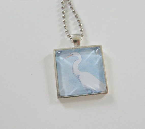 Egret Bird Art, Glass Silver Pendant Necklace, White Heron Bird Pendant Necklace, Silver Chain, Bird Jewelry