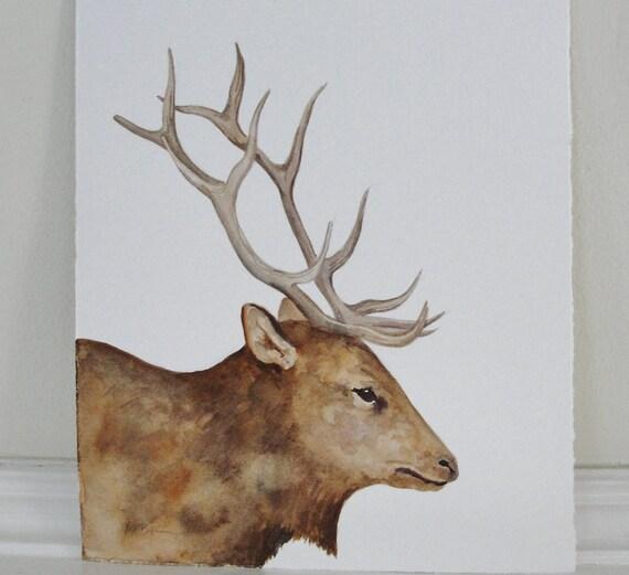 Elk Watercolor Painting, Brown Elk with Antlers, Original Watercolor Painting, Animal Art, Nature Art, Rustic  8x10