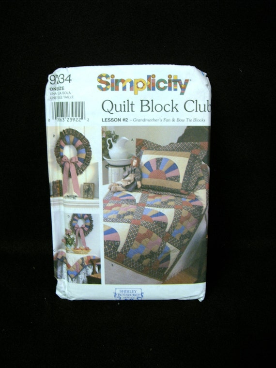QUILT BLOCK PATTERN GRANDMOTHER'S FAN & BOW TIE PATTERN by SIMPLICITY