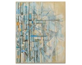 Abstract Art Original Collage Painting Modern Art Drawing Big 24x30 Canvas Blue Black White Yellow