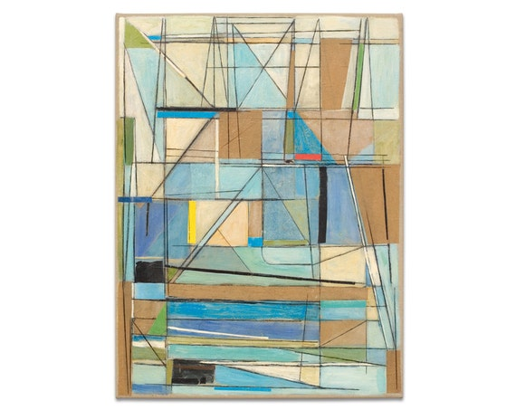 Abstract Painting Original Art Geometric Modern Art Collage Drawing Mid Century Modern 18x24 Canvas Blue Brown White Red Yellow Black
