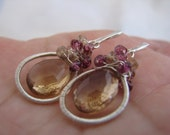 Wire Wrapped Earrings, Champagne Citrine, Rhodolite Garnet, Champagne color change Garnet, Sterling Silver, by Blue Scarab Jewelry