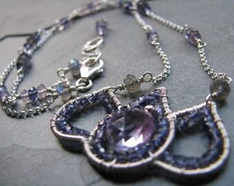 Custom Gemstone Lotus Necklace, wire wrapped gemstone jewelry