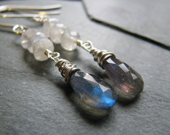 Flashy Gemstone Earrings, Labradorite, Moonstone, Sterling Silver, by Amber Bryce Jewelry