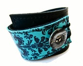 Tapestry Wrap LEATHER Cuff Black, Turquoise