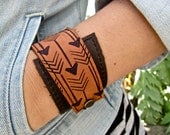 Leather Cuff Bracelet Wrap, Arrow Print in Brown & Clay - SALE - see Shop for Coupon Codes...