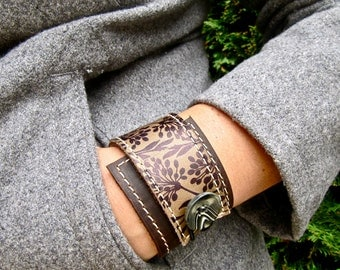 Leather Wrap Women's Bracelet Cuff, Florance Print in Brown & Olive Taupe, Adjustable Size