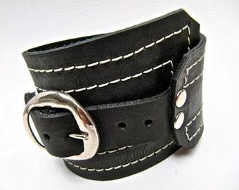 Black Leather Cuff, Unisex Buckle Wrap