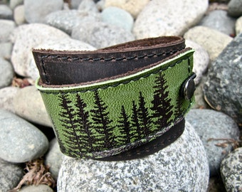 Leather Cuff Bracelet Wrap, Wilderness Pine Tree Print in Brown & Hunter Green * SALE * Coupon Codes